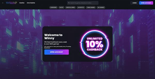 Winny casino screenshot